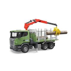 Camion transport de bois Scania R-series avec grue et troncs Bruder 03524