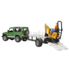Land Rover Defender avec remorque, mini pelle et personnage Bruder 02593
