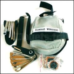 Kit réparation chambre air et outils vélo avec sacoche