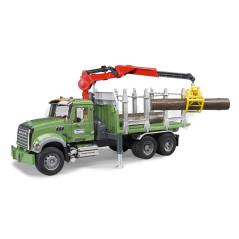 Camion transport de bois Mack Granit avec grue troncs Bruder 02824