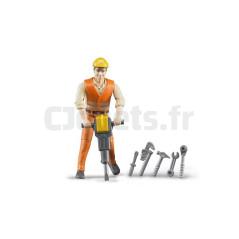 Ouvrier avec accessoires de chantier - BRUDER - 60020