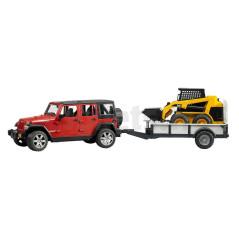 Jeep Wrangler Unlimited Rubicon Avec Remorque Et Chargeur Caterpillar Bruder 02925