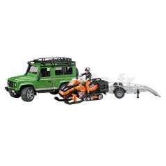 Land Rover Defender avec remorque Moto Neige Et Personnage Bruder 02594