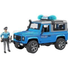 Land Rover Defender Avec Policier Et Accessoires et Gyrophare fonctionnel Bruder 02597