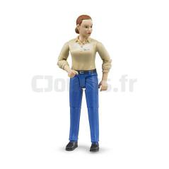 Figurine femme chatain - BRUDER - 60408