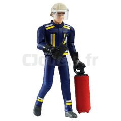 Figurine pompier avec casque, gants et accessoires - BRUDER - 60100