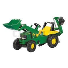 Tracteur à Pédales Rollyjunior John Deere + Pelle Avant + Excavateur Arrière Rolly Toys 811076