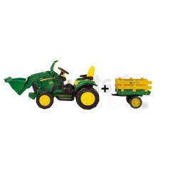 Tracteur Electrique Pour Enfant John Deere Ground Loader 12V + remorque Peg-Pérego